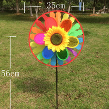 Hot Colorful Rainbow Triple Wheel Wind Spinner Windmill Garden Yard Outdoor Decor Kids Toys(China)