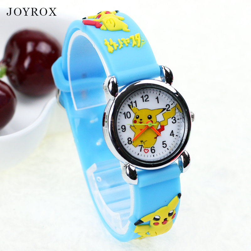 JOYROX Pokemon Pattern Children Sports Watch 2017 Hot Cartoon Rubber Strap Quartz Wristwatch Fashion Girls Boys Kids Clock joyrox minions pattern children watch 2017 hot despicable me cartoon leather strap quartz wristwatch boys girls kids clock