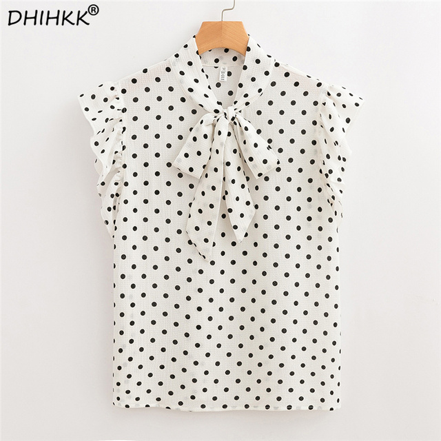 8ac839678d92d DHIHKK Polka Dot Bow Tie Frilled Armhole Shell Top Women V- Neck Sleeveless  Chiffon Blouse 2018 Summer Casual Blouse Blusas