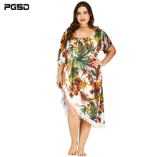 PGSD Spring Irregular strapless Plant printing Long tassel splicing Beach Blouse Fashion Big-size women clothes female