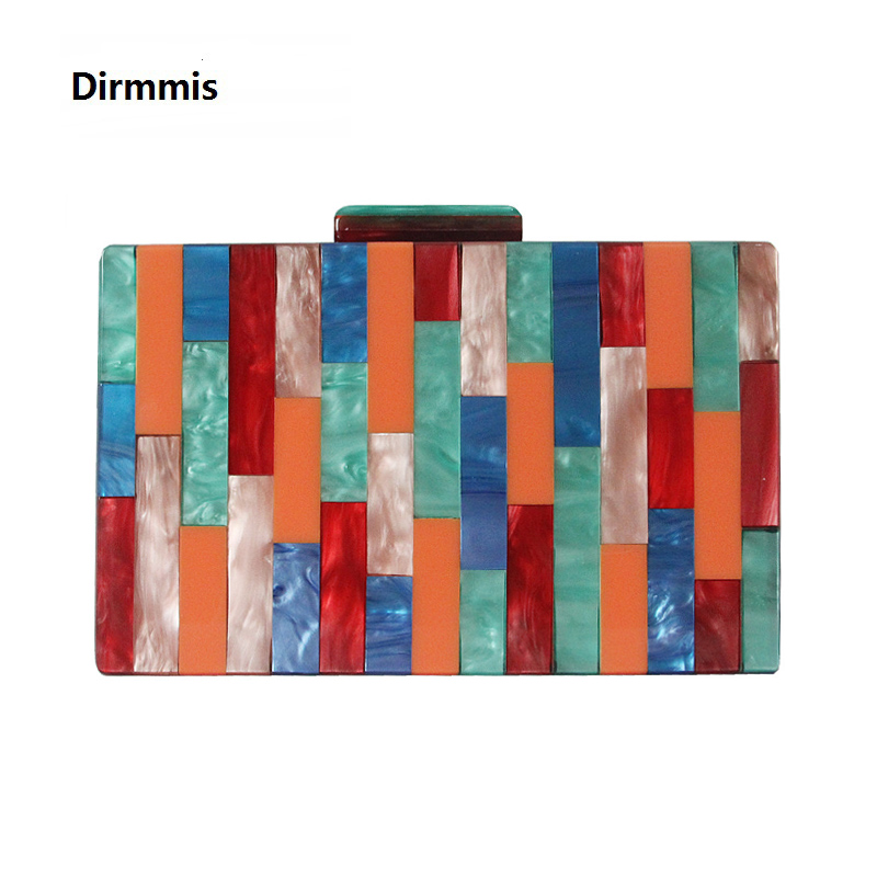 2018 New Acrylic Brand Fashion Women Evening Bags Luxury Colorful Patchwork Party Prom Handbag Woman Cute Casual Wedding Clutch 2017 time limited patchwork hard female colorful diamond new design luxury evening bag handbag dinner party prom wedding clutch