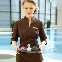 Custom Made SPA Uniform Womens V Neck Tops Pants Sets High Quality Coffee Beauty Clothing Thai