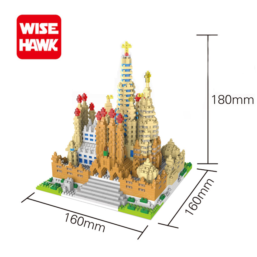 WiseHawk New Arrival Famous Architecture Sagrada Familia Nano Blocks Christmas Gift For Educational Toys Micro Building Bricks loz world famous classic architecture assembe mini building blocks educational model toys birthday gift for child eiffel tower