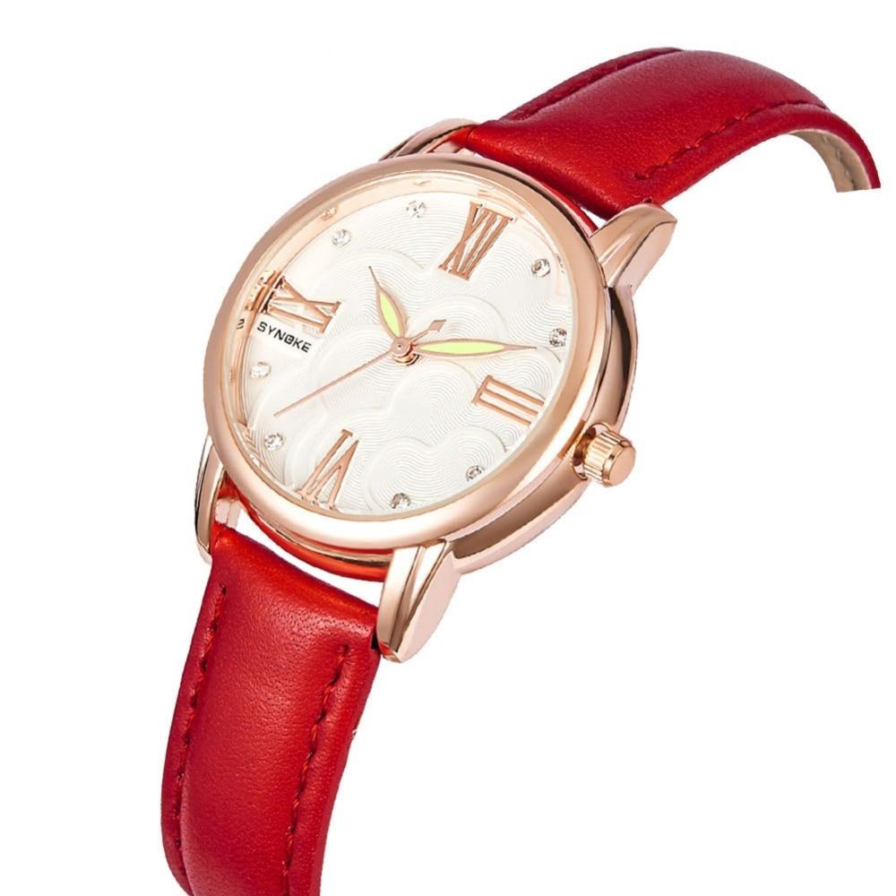 2018 New Women's Wrist Watch Luxury Brand Elegant Red Leather Band Bracelet Watches Waterproof Rose Gold Dial Women Quartz Watch все цены
