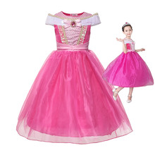 Sleeping Beauty Aurora Dress Up Dresses For Girls Kids Princess Cosplay Costumes Pink Evening Children Fancy Party Frock