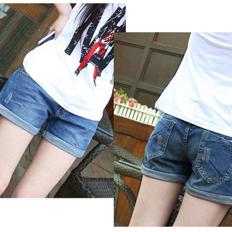 Summer Denim Maternity Shorts for Pregnant Women Pockets Jeans Elastic Waist Care Belly  ...