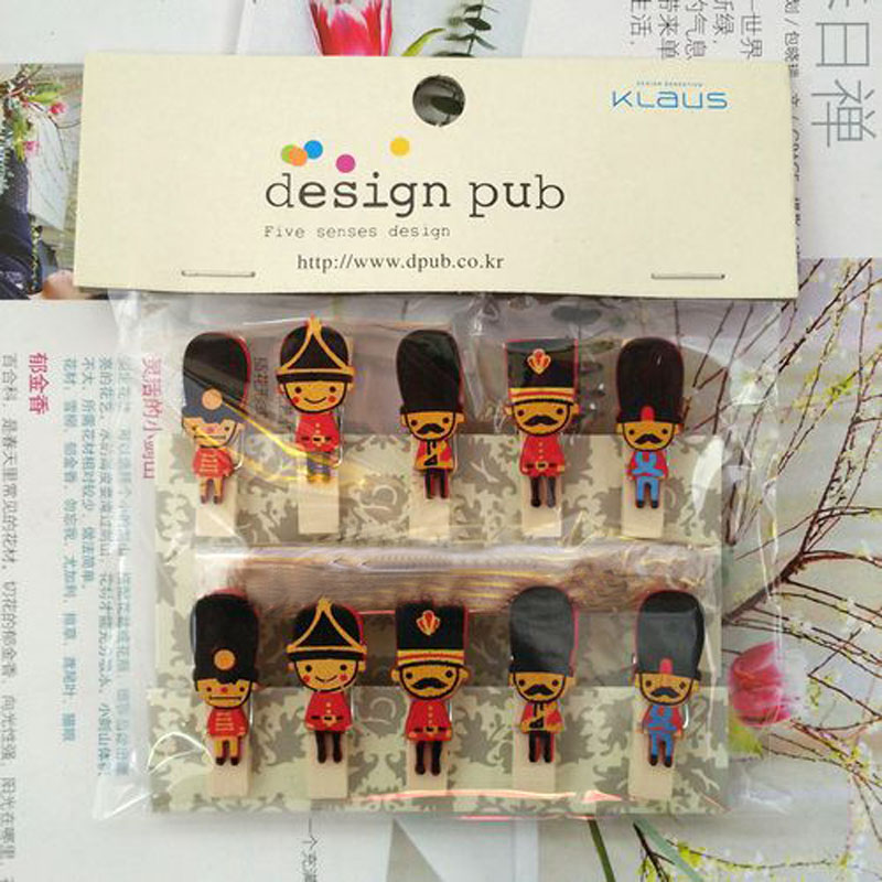 1 Set Hot England Soldier Wooden Clips Kawaii DIY Paper Photo Postcard Craft Decorative Lovely Mini Wood Clip With  Rope