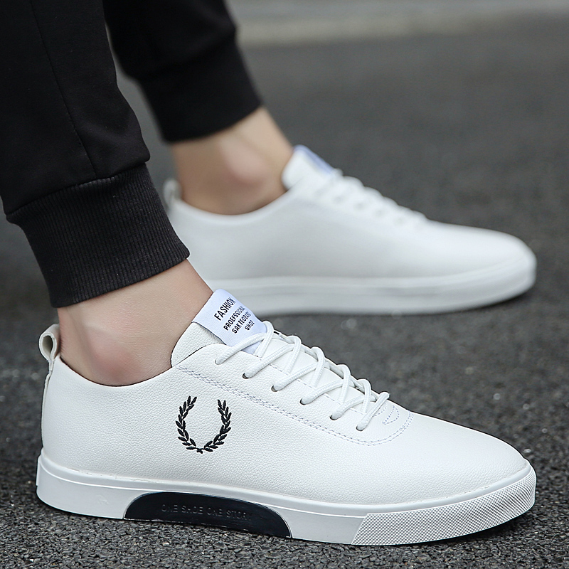2018 Spring And Autumn New Men'S Vulcanized shoes Fashion Lace-up Shoes Sneakers Youth trend Men'S Shoes Sewing  PU thumbnail
