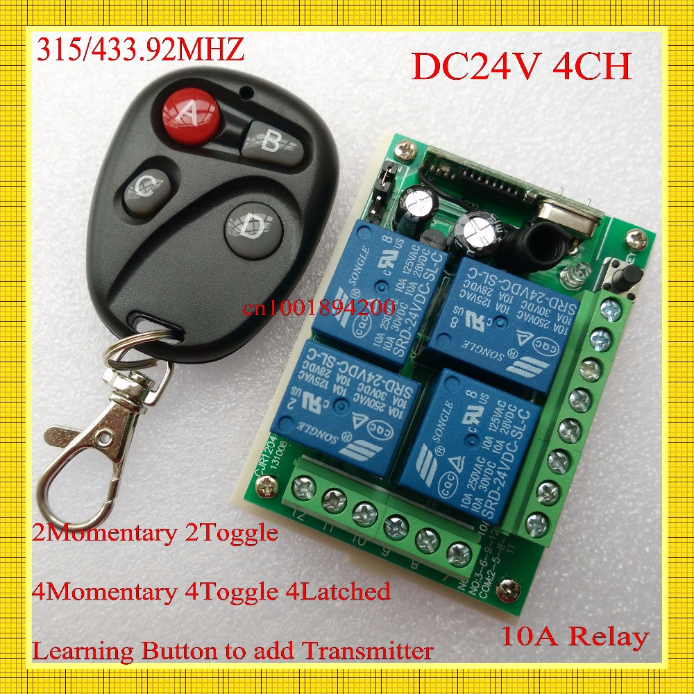 DC 24V 4CH 10A Relay Remote Switch 315/433mhz 2CH Momentary 2CH Toggle 4M 4T 4L Wireless Remote Switch Learning Code ASK Smart H
