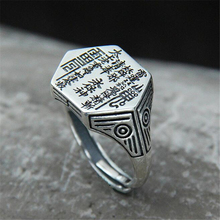 Vintage Silver Ring Protectation Jewelry for Man and Boy Buddhist Ring Jewerly S925 Sterling Silver Ring s925 pure silver vintage ring men s personality gold wings patron saint silver ring