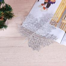 1PC Glitter Artificial Flowers Leaves Christmas Tree Decor Hanging Ornament Hollow Out Leaves christmas decoration for home