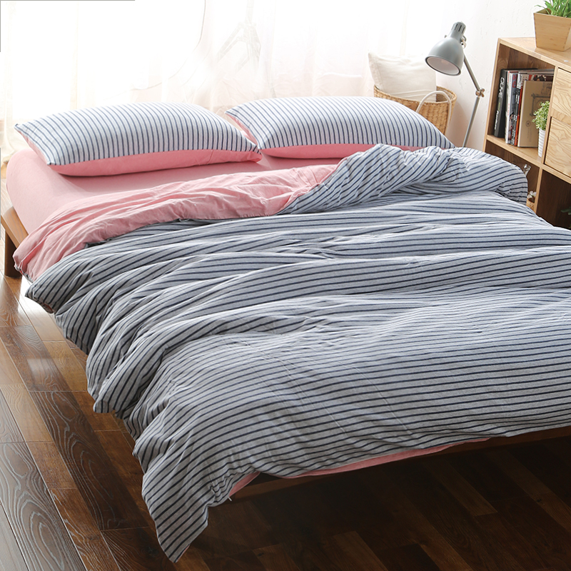 4pcs 100 Cotton blue stripe matched with pink double side bed cover set king size 180cm