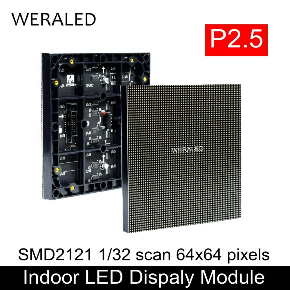 WERALED Indoor High Definition P2.5 Full Color SMD 3-in-1 LED Module 64*64 pixels 1/32 Scan P2.5mm LED Video Display Panel
