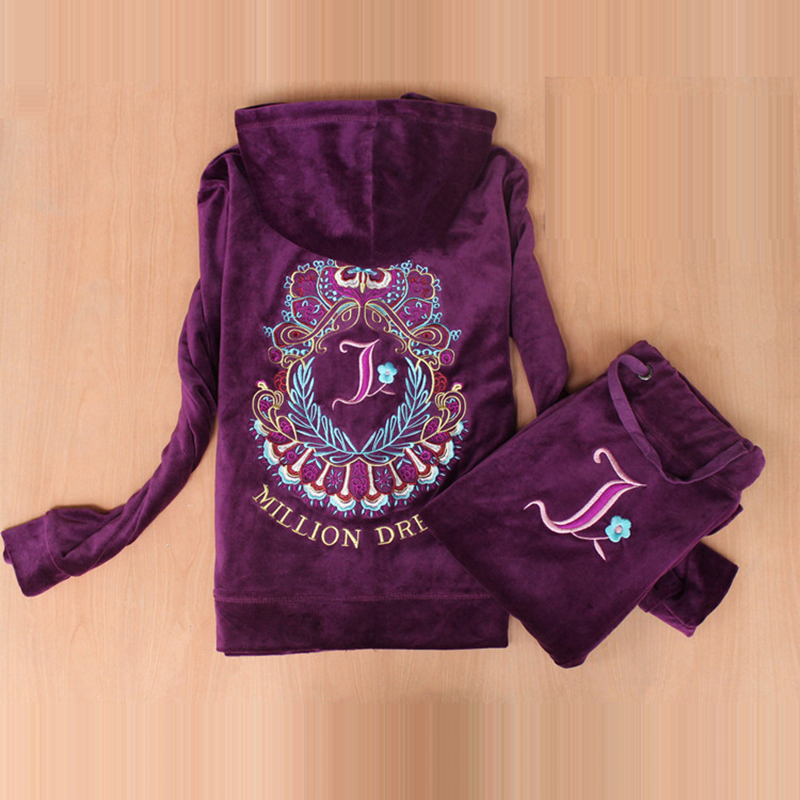 Fashion Brand Velvet Fabric Female Tracksuits Velour Suit Hoodies Tops and Pants Sweatsuit S XXL
