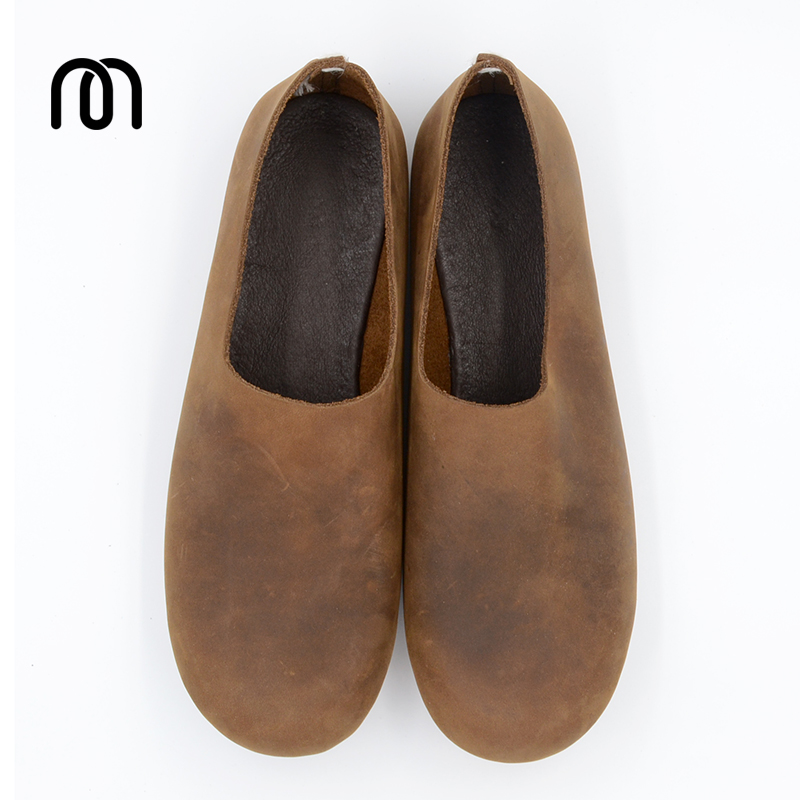 Фото Millffy classic flat leather shoes Original handmade cowhide Top Vintage fashinal casual designer Unisex real leather shoes