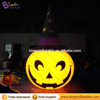 Free shipping 3M LED lighting inflatable pumpkin with magic hat for Halloween decoration blow up cushaw balloon for party toys