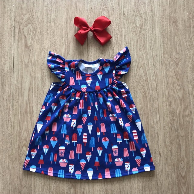 2018 popsicle print pearl dresses kids pops flutter sleeve dress boutique for summer 4th of July matching head bow