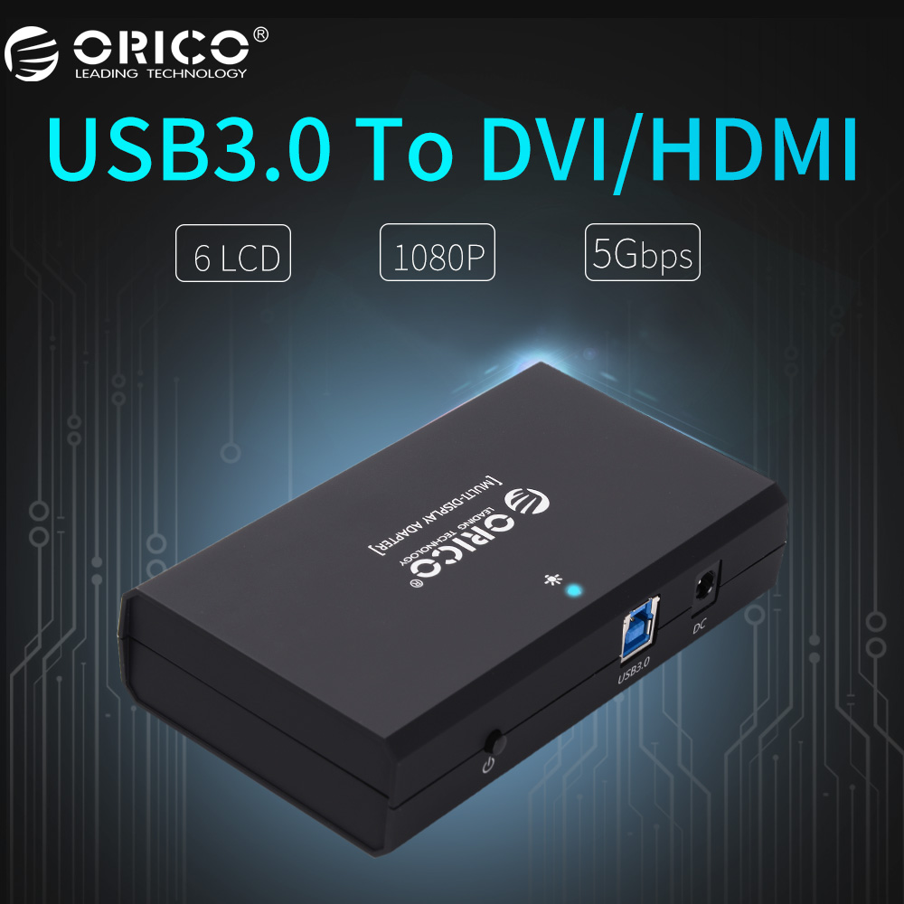 ORICO USB3.0 to DVI/HDMI External Monitor Converter Connector Controller 5Gbps Support 6 Screen -Black(DHU3A-BK) orico dhu3b bk usb3 0 to dvi hdmi external graphics for 6 computer screen extention black