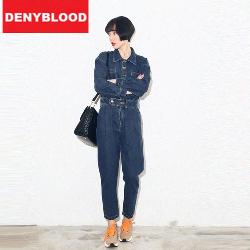 ФОТО 2016 New Fashion Womens Denim Overalls Cargo Pants Stonewashed High Waist Jeans Turn-Down Collar Loose Pants WDB01