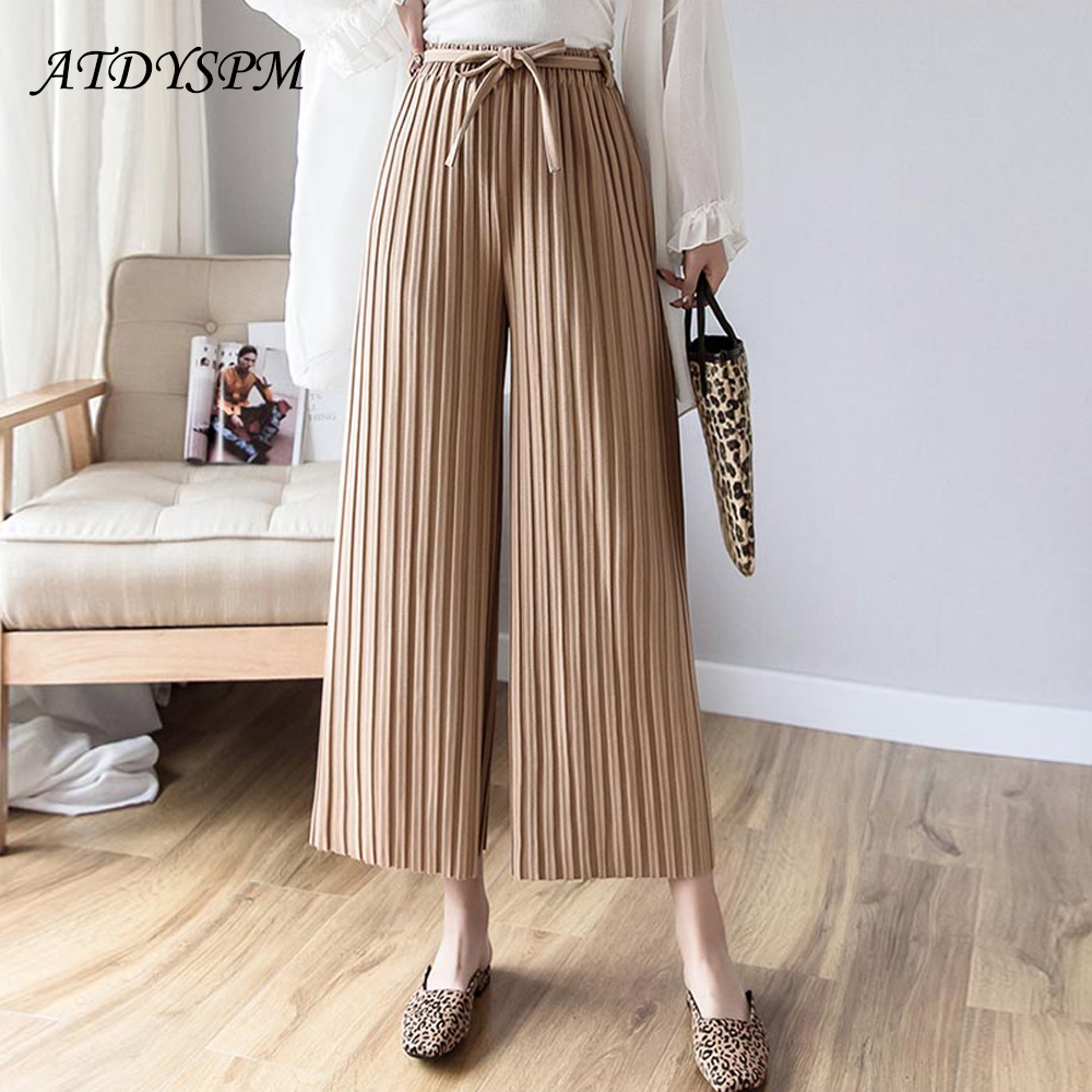 new fashion women casual   pants   high waist loose   wide     leg     pants   trousers bow drawstring pleated lady office OL   pants
