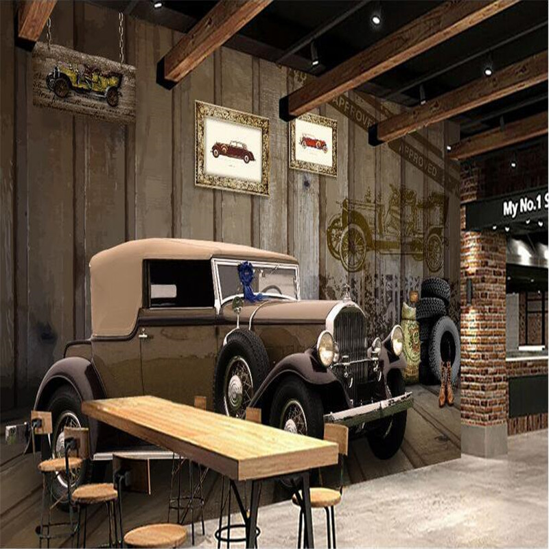 3d large wall mural wallpaper HD Classic car retro style wood Arts Cafe backdrop custom silk photo wall paper
