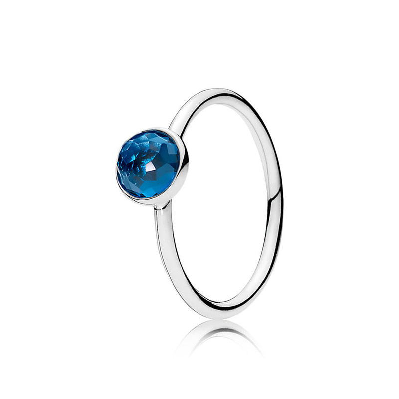 Classic 100 Authentic 925 Sterling Silver Fashion Twelve Months Droplet Ring For Women Birthday Party Fine Europe Jewelry Gift in Rings from Jewelry Accessories