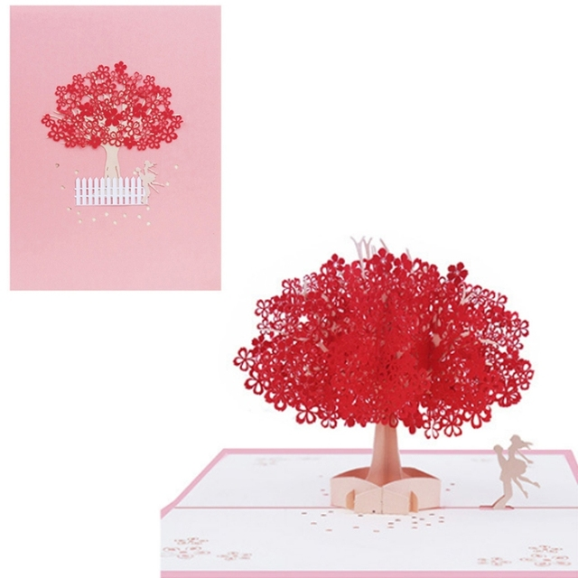 3d Tree Couple Pop Up Greeting Cards Happy Birthday Lover Valentines