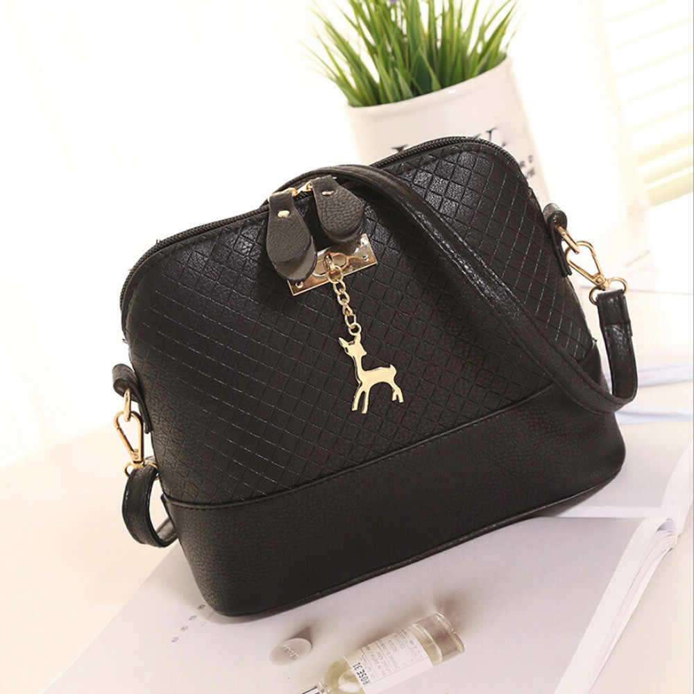 Bags For Women 2019 Quality PU Leather Soft Face Women Bag Wild Shoulder Messenger Bag Quilted Shell Bag Pendant Cute Deer #L5