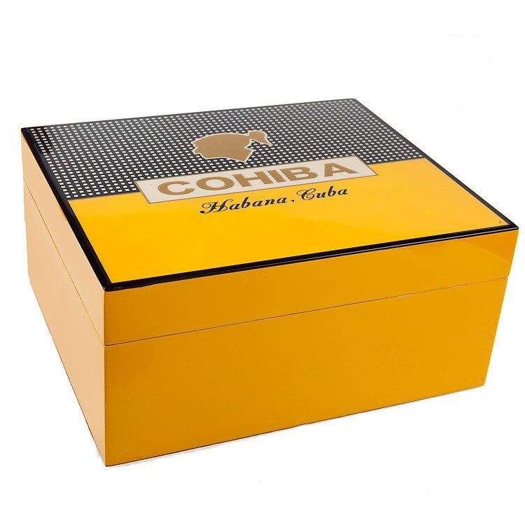 COHIBA Luxe Classique Noir Brillant Piano Finition Bois De Cèdre Cave À Cigares Jolie Boîte De Rangement avec Serrure Humidificateur Hygromètre