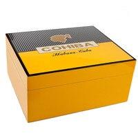 COHIBA Luxury Classical Black Glossy Piano Finish Cedar Wood Cigar Humidor Pretty Storage Box with Lock Humidifier Hygrometer