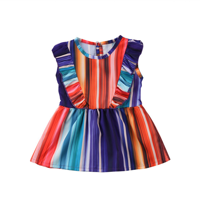 0e1d0e7a9652 Kids Baby Girl Rainbow Colorful Dress Party Pageant Princess ...