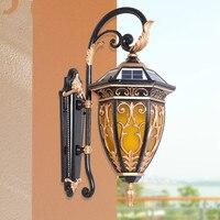 Водонепроницаемый лампа led солнечной энергии ретро открытый Водонепроницаемый лампа Вилла снаружи настенный светильник сад бра сад свет