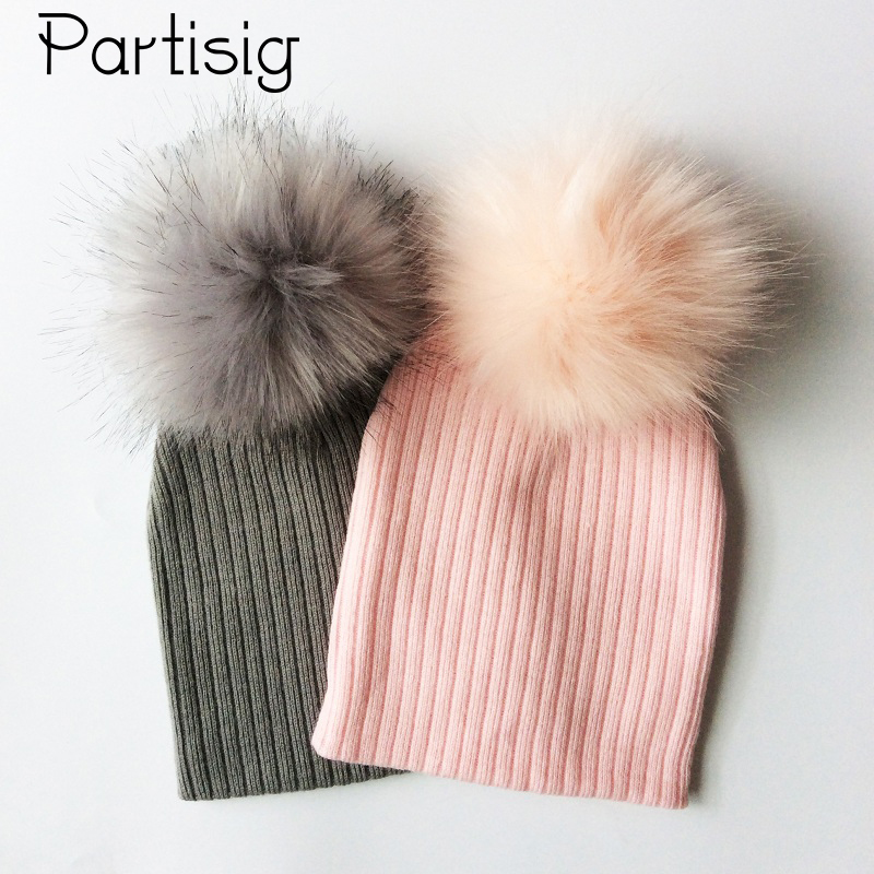 Baby Cap Faux Fur Hat For Girls And Boys Crochet Pompom Bobble Kids Cap Knitted Winter Children's Hats Caps free shipping winter beanies hat thick knitted wool skullies casual cap with real raccoon fox fur pompom women gorros caps