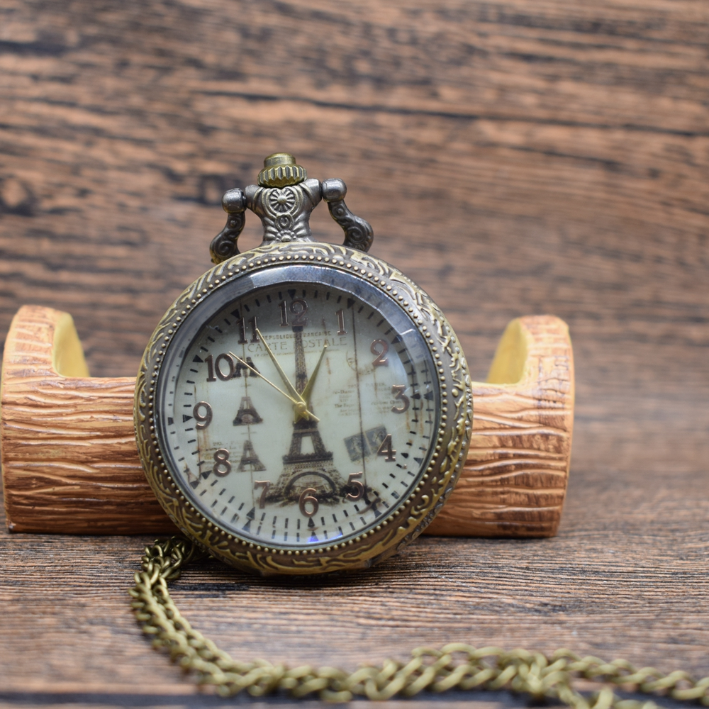 Pocket & Fob Watches Vintage Eiffel Tower  Quartz Pocket Watches Necklace  Women/Mens  Pendant Clock Gift