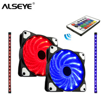 ALSEYE Computer fan radiator Remote control RGB 120mm cooler and strips set 2 fans 12v 1300RPM with LED