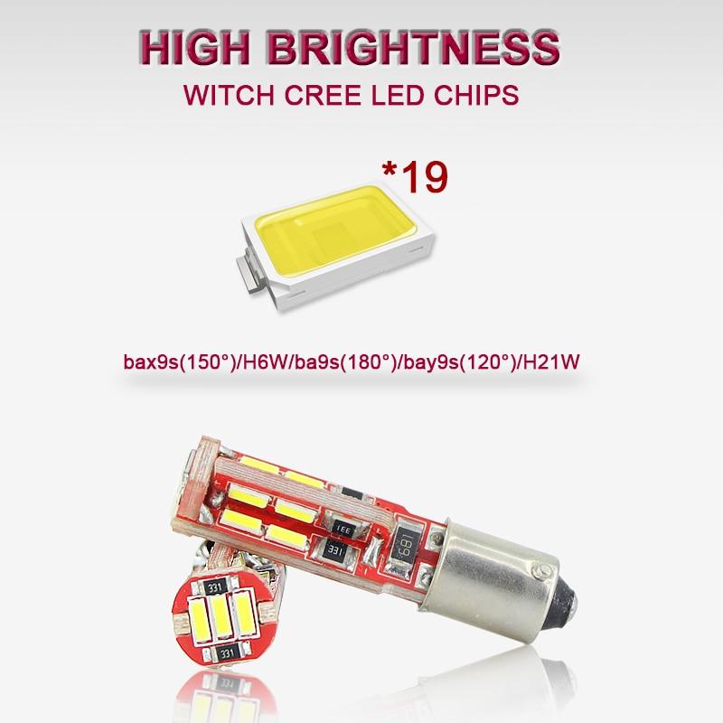 SAARMAT 2x LED BAX9S H6W lampa 6000K Ağ 19SMD Çiplər Canbus Xəta - Avtomobil işıqları - Fotoqrafiya 3