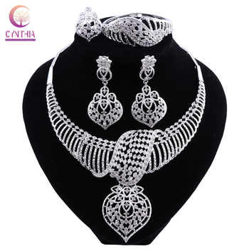 CYNTHIA New Fashion African Jewelry Set Dubai Silver Plated Bridal Necklace Earrings Set Crystal Indian Wedding Jewelry - DISCOUNT ITEM  48% OFF All Category