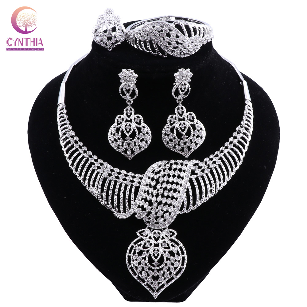 CYNTHIA New Fashion African Jewelry Set Dubai Silver Plated Bridal Necklace Earrings Set Crystal <font><b>Indian</b></font> Wedding Jewelry image