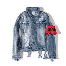 2017 Hip hop men's denim jacket clothing fear of god Four Two Four 424 spring summer broken hole jeans Hole ripped cowboy jacket