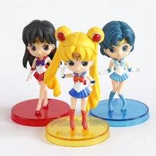 Q posket Sailor Moon Tsukino Usagi / Sailor Mercury Mizuno Ami / Sailor Mars Hino Rei PVC Action Figures Toys 3pcs/set