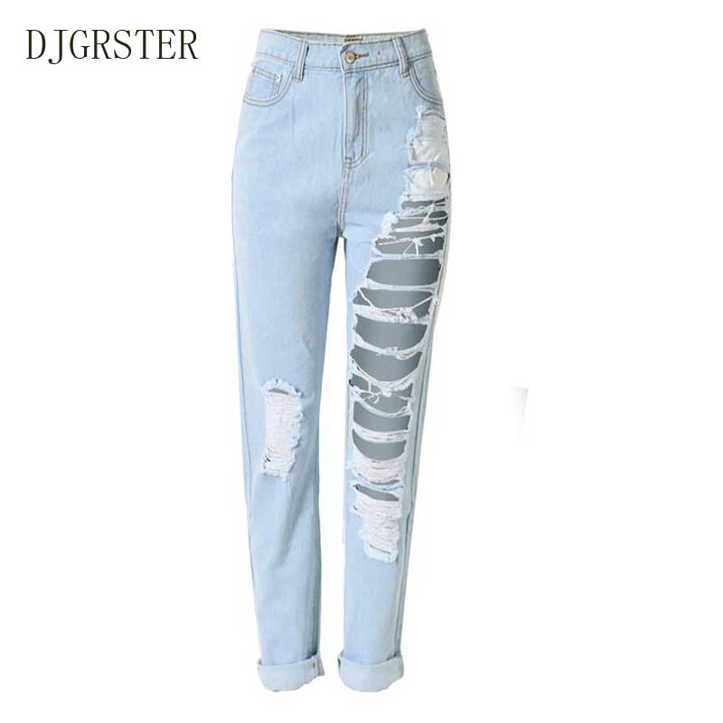 DJGRSTER 2017 New Fashion Cotton Jeans Women Loose Low Waist Washed Vintage Big Hole Ripped Long Denim Pencil H Pants spring new fashion cotton jeans women loose high waist washed vintage big hole ripped ankle length denim straight pants mz1535
