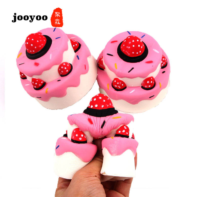 Best Selling Squishy Slow Rebound Double Strawberry Cake PU Simulation Cake Model Decompression Vent Toys
