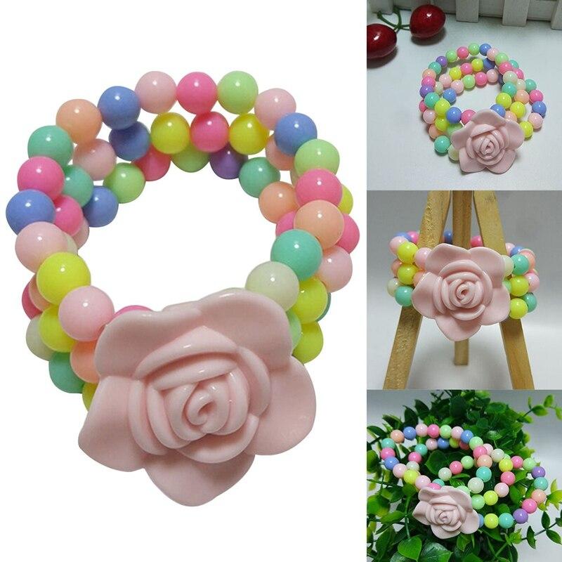 New Style Romantic Sweet Purple Rose Resin Flower Kids Charm Bracelets Children's Day Best Gift Bargain Products