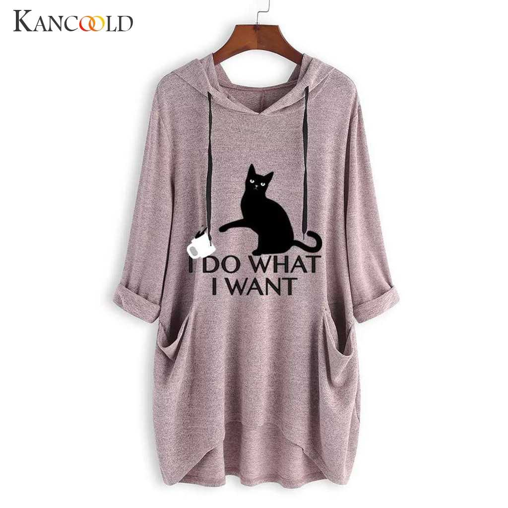 KANCOOLD top T-Shirt Women Casual Print Cat Ear Hooded T-Shirt Long Sleeves Pocket Irregular fashion new top femme 2018dec27