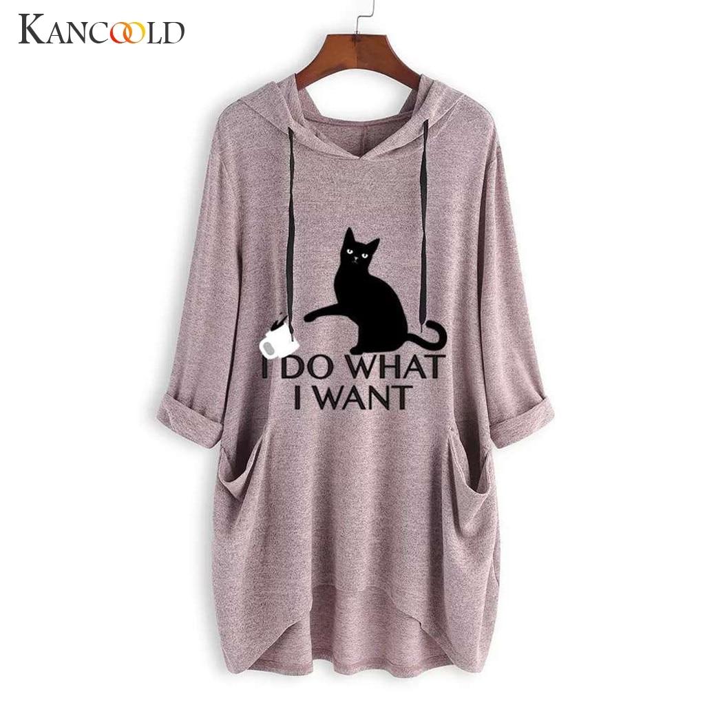 KANCOOLD Top T-Shirt Women Casual Print Cat Ear Hooded T-Shirt Long Sleeves Pocket Irregular Fashion New Top Femme 2018dec27