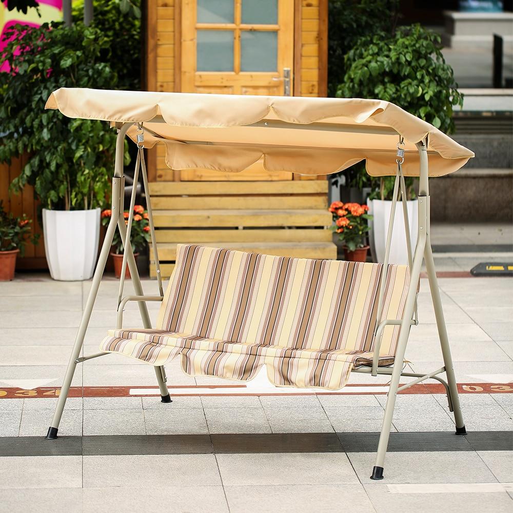 Swing chair outdoor patio - Ikayaa 3 Seater Patio Canopy Swing Glider Hammock Outdoor Porch Swing Chair Backyard Furniture Metal Frame