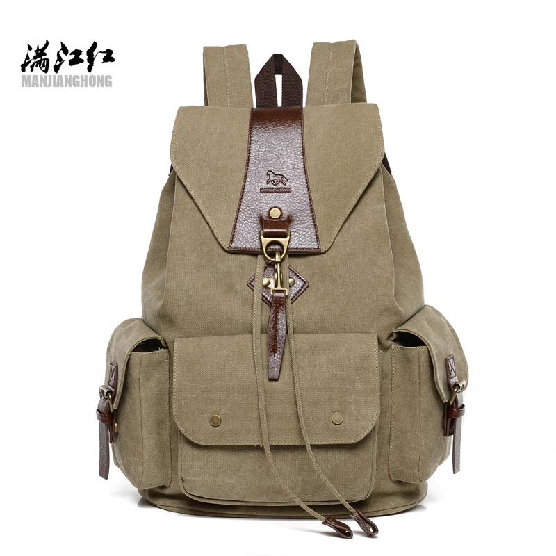 New Vintage Canvas Backpack Retro Male Students School Bags Fashion Man Double Shoulder Bags Casual Backpack women canvas stripe shoulder bags casual capcity multifunction backpack students school bags