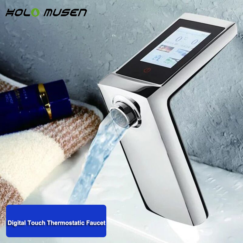 2 Years Warranty Thermostatic Basin Faucet Touch Screen Temperature Flow Control Digital Faucet Smart Touch Faucet Water Saving