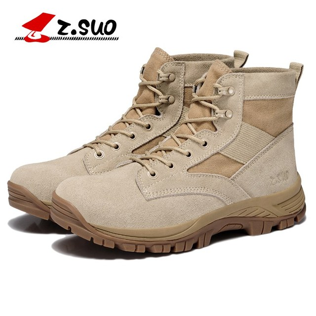 1ead8b2161c Z.Suo High Quality Men s Desert Military Ankle Boots Man Tactical Combat  Short Botas Handmade Outdoor Work Safety Shoes ZS157