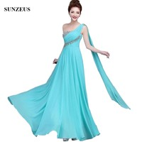 Long Evening Gown One Shoulder Full Length Chiffon Formal Dresses Beaded Party Gowns Robe De Soiree